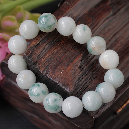 Asian Styled, Moss in Snow Patterned, Jadeite Jade (Grade A) Round Beaded