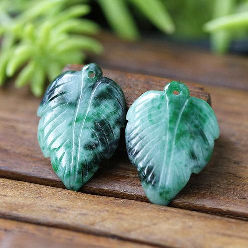 Vivid, Multi-Colored Green Jadeite Jade (Grade A) Hand Carved into Leaf Shaped