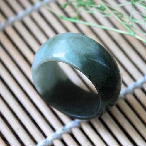 The Yin & Yang Ring, Half Dark Green / Half Light Green Jadeite Jade (Grade A)