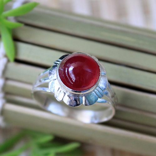 Red African Ruby Gemstone Ring (Heated), Set in Hill Tribe Silver