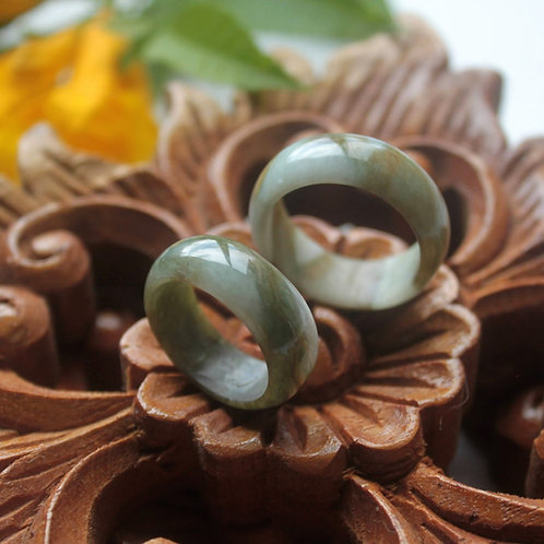Matching Couples Ring Bands, Uniquely Modulated Light Tan/Green Swirl Jadeite