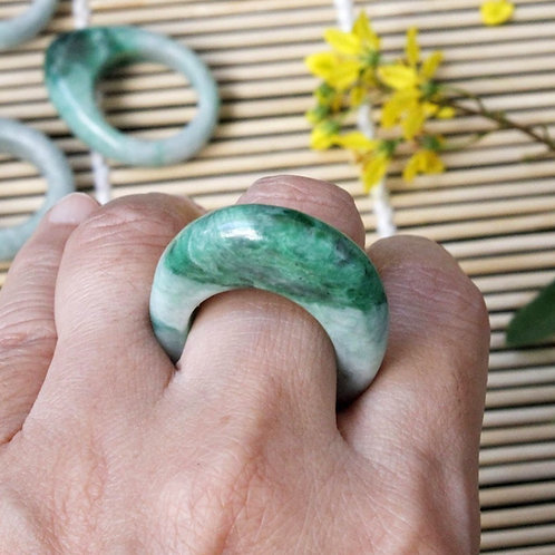 The Unique Look, Apple Green Jadeite Jade (Grade A) Hand Carved Saddle Ring