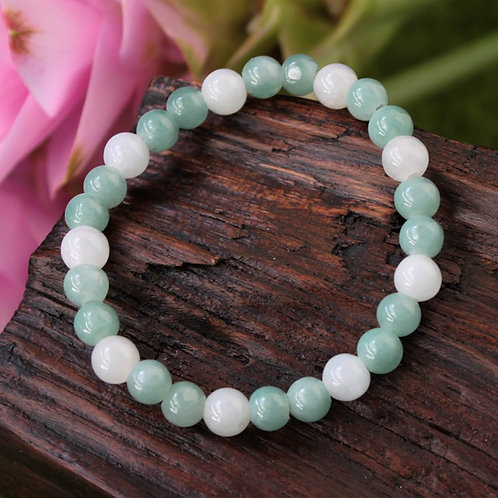 Highlighted Apple Green with Icy White Jadeite Jade (Grade A) Round Beaded