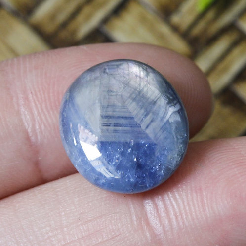 Web of Translucency, 13.4 ct. Natural Unheated/Untreated Blue Sapphire Cabochon