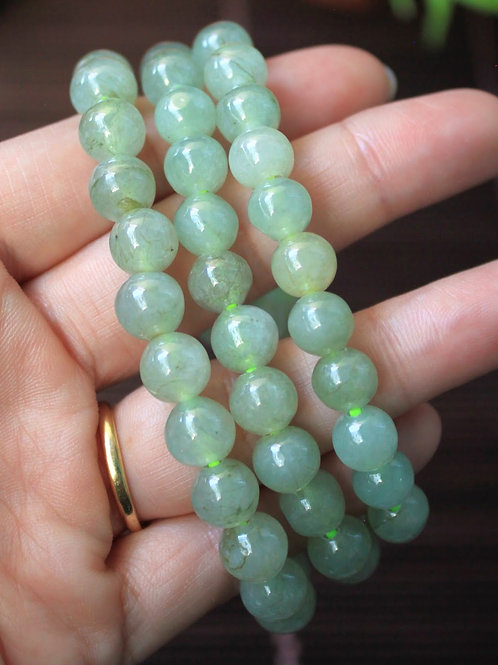 8 mm. Translucent Light Green Jadeite Jade (Grade A) Round Beaded Necklace