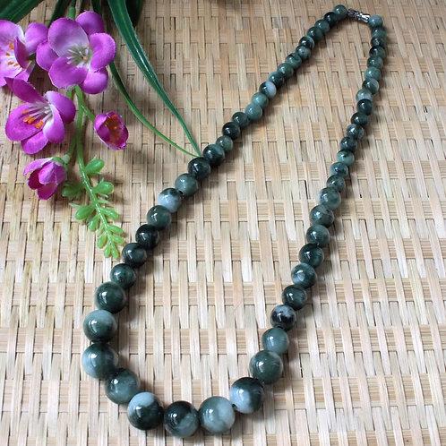 The Yin & Yang Beaded Necklace, Half Dark-Green/ Half Light-Green Jadeite Jade