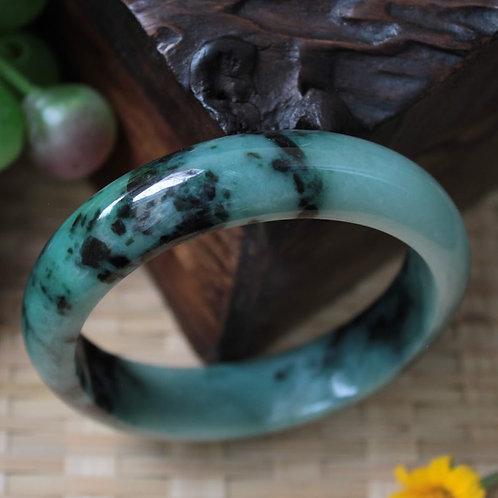 Rare Quality, 63 mm. Black and Green Jadeite Jade (Grade A) Hand Carved Bangle