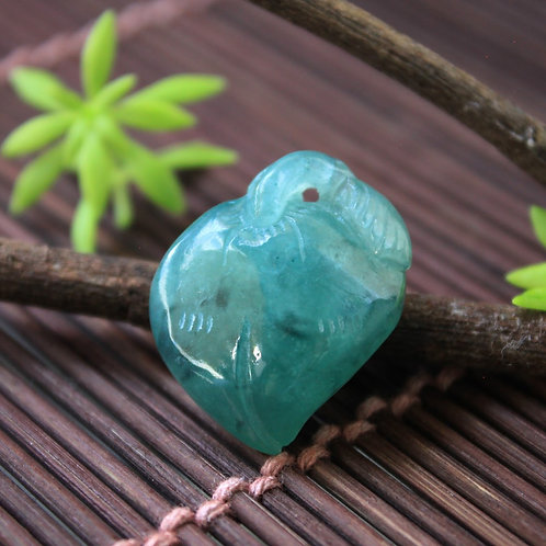 Semi-Translucent Green Jadeite Jade (Grade A) Gemstone Carved into a Floral