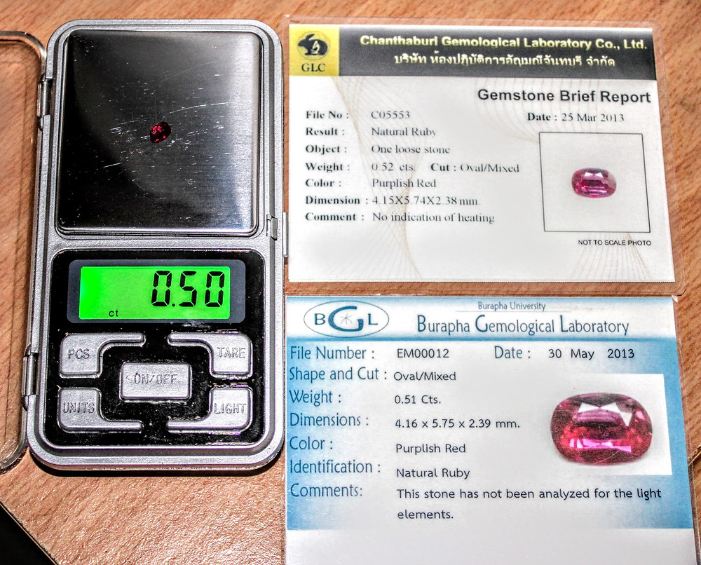 0.5 ct. Natural Unheated/ Untreated Purplish-Red Burmese Ruby with 2 Lab Certificates, Truly Perfect for Engagements, Weddings