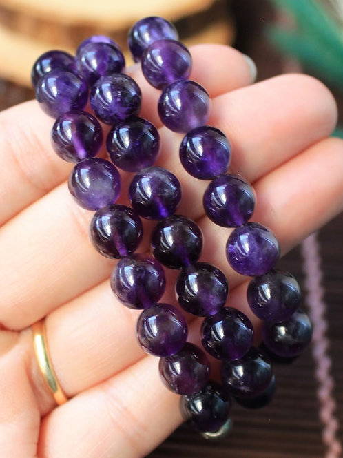 8 mm. Amethyst Beaded Necklace, Natural Amethyst Round Gemstone Beads