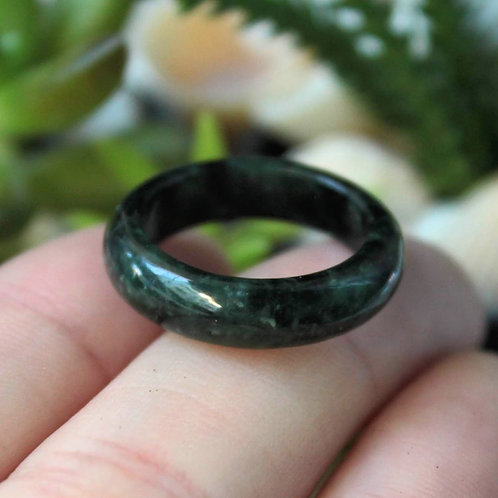 Extremely Modulated Dark Green/ Black, Jadeite Jade (Grade A) Hand Carved Ring