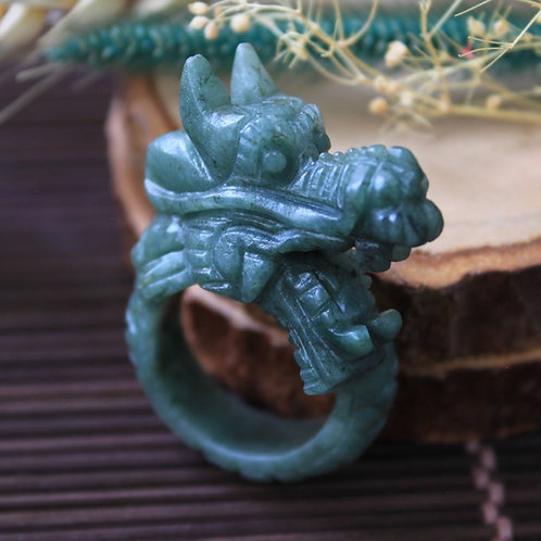 Asian Dragon Ring, Bluish-Green Jadeite Jade (Grade A) Expertly Hand Carved