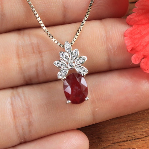 Stunning African Ruby (Heated) Pendant with White Topaz Accent Stones