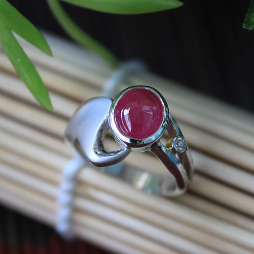High Quality, 2 ct. Unheated/Untreated Translucent-Red Burmese Ruby and Diamond