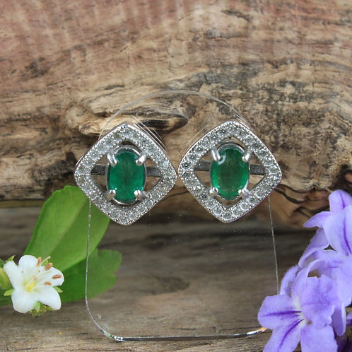 Stunning Emerald Studded Earrings with White Topaz Accent Stones in 92.5 Silver