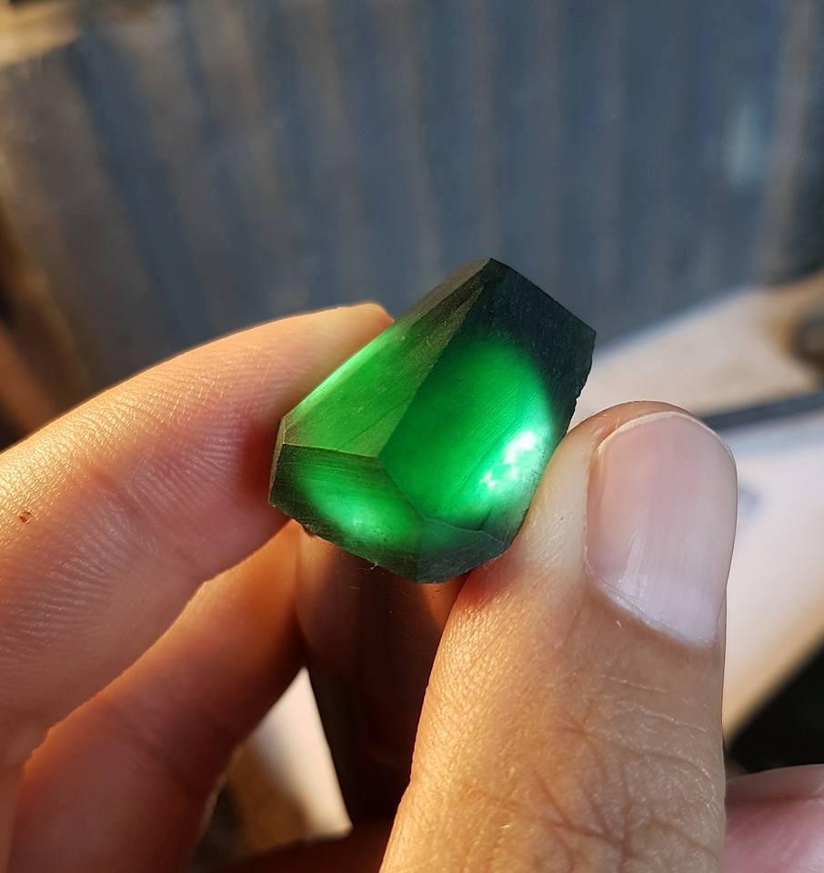 Rare Rough Burmese Imperial Translucent Black Omphacite-Jadeite Jade