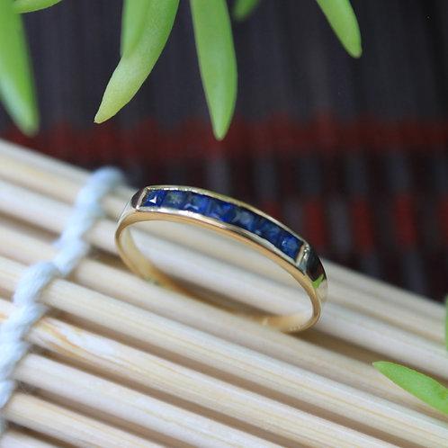Princess Cut Sapphire Wedding Band, Half Eternity Sapphire Ring