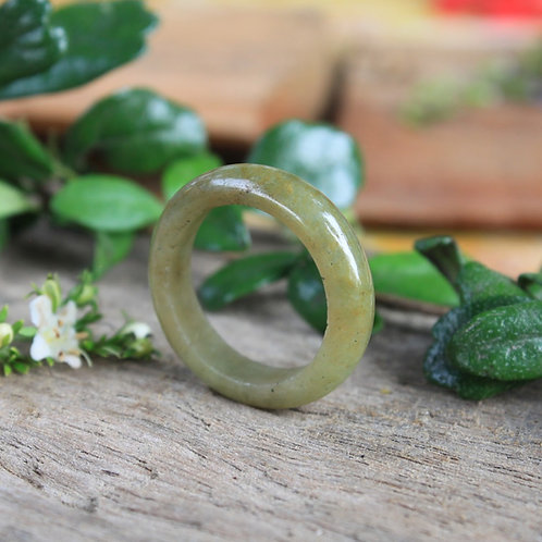 Unique Light Honey Jadeite Jade (Grade A) Hand Carved Ring, Size 7 1/4 US