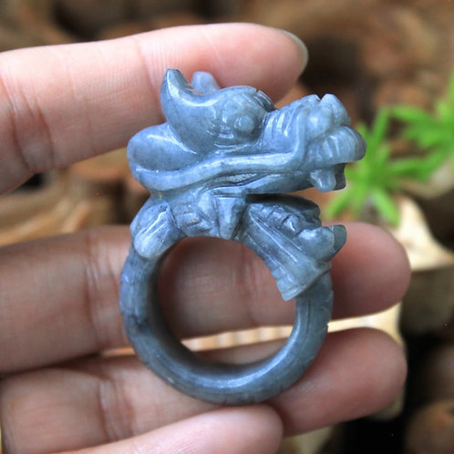 Asian Dragon Ring, Gray Jadeite Jade (Grade A) Expertly Hand Carved