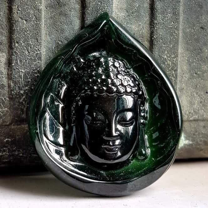 37.39 ct. Imperial Translucent Black Omphacite Jadeite Jade Carving of a Buddha Face Pendant with Gem Lab Certificate