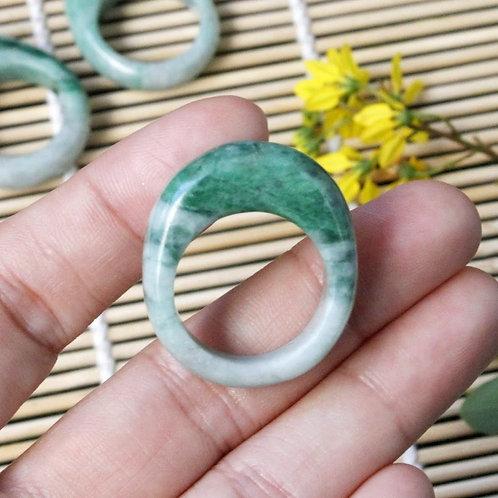 Vibrant Apple Green Jadeite Jade (Grade A) Hand Carved Saddle Ring