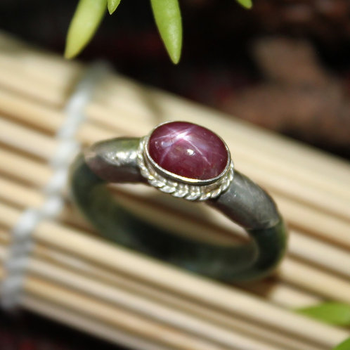 Unique, Traditional Thai Style Silver Engraving with Natural Star Ruby Ring