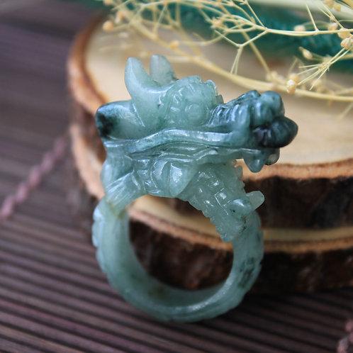 Asian Dragon Ring, Semi-Translucent Green Jadeite Jade (Grade A)