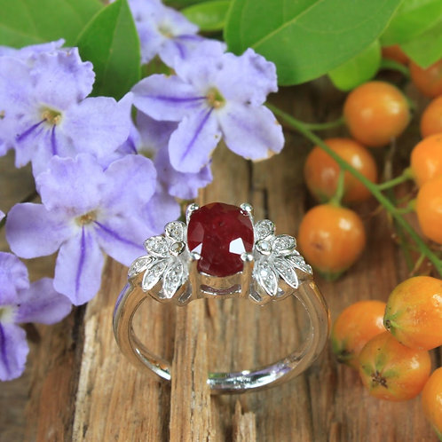 Stunning Pigeon Blood Red African Ruby (Heated) Ring with White Topaz Accent