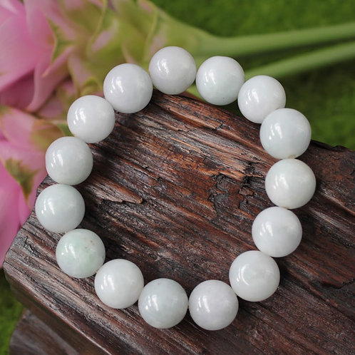 Asian Styled, White with Green Hues, Jadeite Jade (Grade A) Round Beaded Bracele