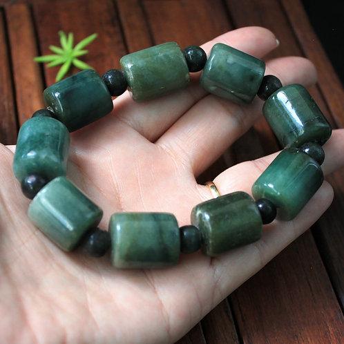 Vintage Natural Green Jadeite Jade (Grade A) Large Barrel Beads Bracelet