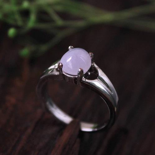 Natural Translucent Lavender Jadeite Jade (Grade A) Set in a Handcrafted 92.5%