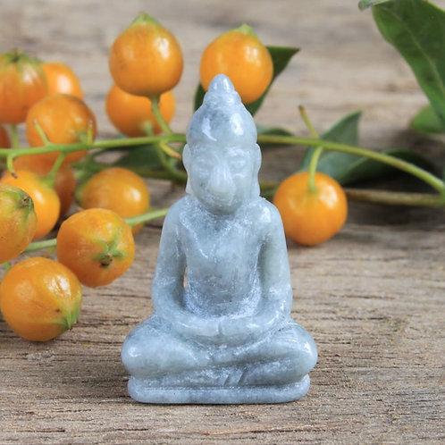 Mini Hand-Carved Meditating Buddha, Light Green Jadeite Jade (Grade A) Carving