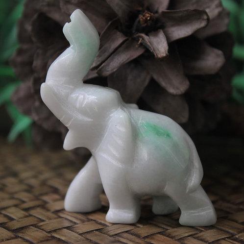 Vibrant Apple Streak, Jadeite Jade (Grade A) Hand Carved Thai Elephant Figurine
