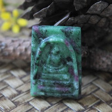 Natural African Ruby/Zoisite Gemstone Carved into a Thai Phra Somdej Buddha