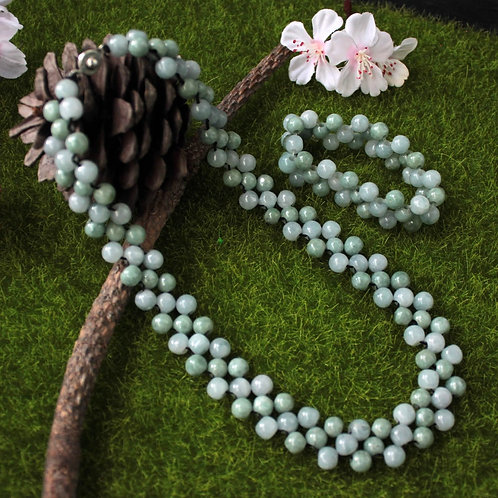 Light Green with Icy White Jadeite Jade (Grade A) Bead Set, 8 mm Round Beads