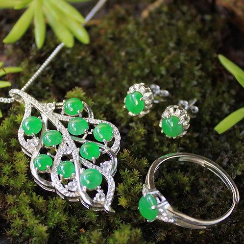 High Quality, Apple-Green Jadeite Jade (Grade A) Gemstone Set 92.5 Silver Plated