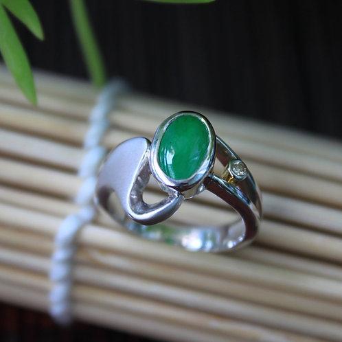 High Quality Design, Perfect-Green Jadeite Jade (Grade A) and Diamond Gemstones
