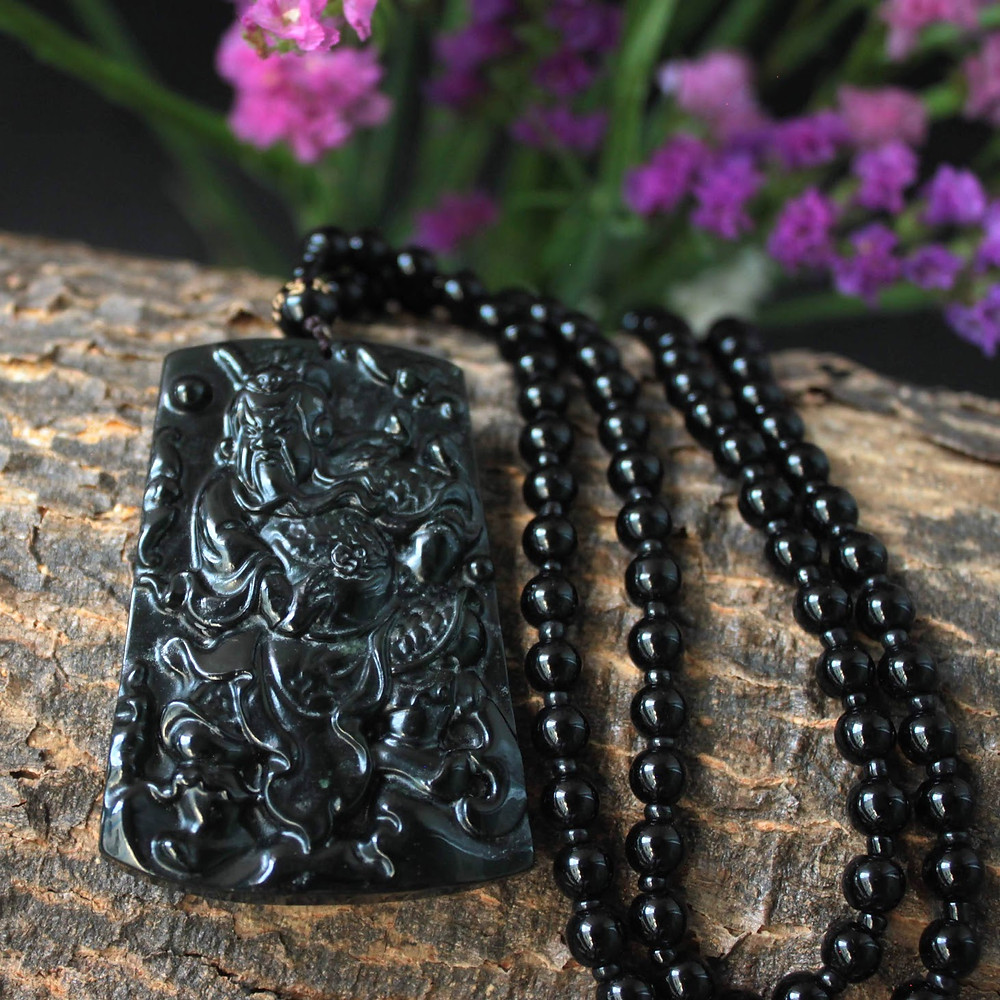 God of War, Semi Translucent Black Omphacite Jadeite Jade (Grade A) Carving of the Chinese God of War (Guan Yu) Pendant
