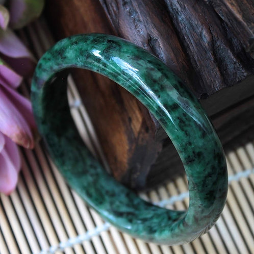High Quality, 62 mm. Green and Black Jadeite Jade (Grade A) Hand Carved Bangle
