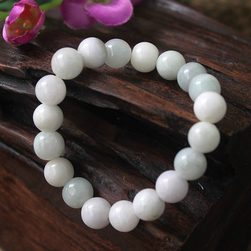 10 mm. Asian Styled, White with Light Blueish Lavender Jadeite Jade (Grade A)