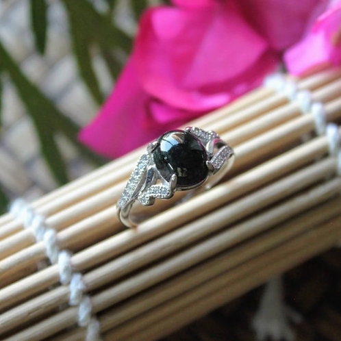 Ring of Eternity, Imperial Translucent Black Omphacite Jadeite Jade (Grade A)