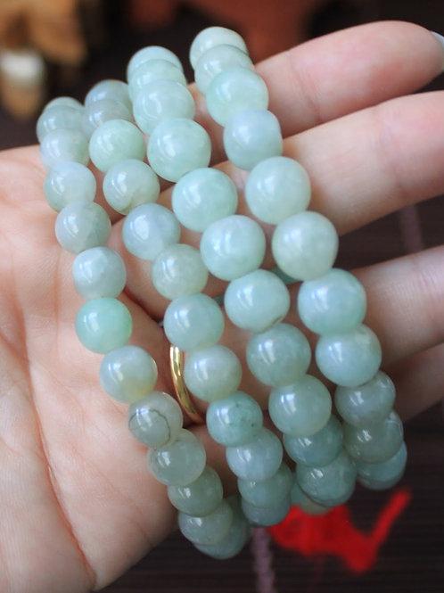 8 mm. Semi-Translucent Light Green Jadeite Jade (Grade A) Round Beaded Necklace