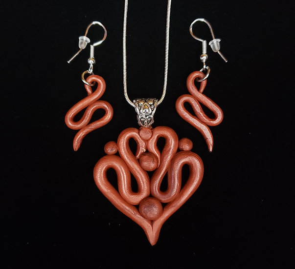 Copper Clay Heart Jewelry Set