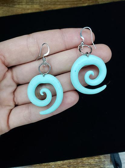 Light Blue Spiral Earrings