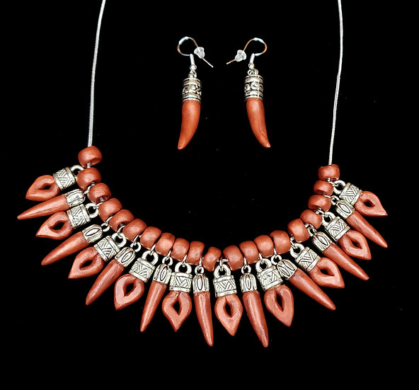 Copper Clay Oriental Spike Jewelry Set