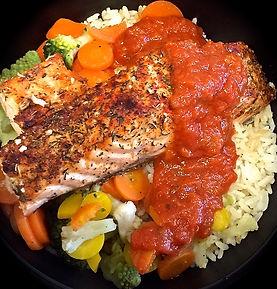 Pavé de saumo aux 3 choux et 2 carottes s