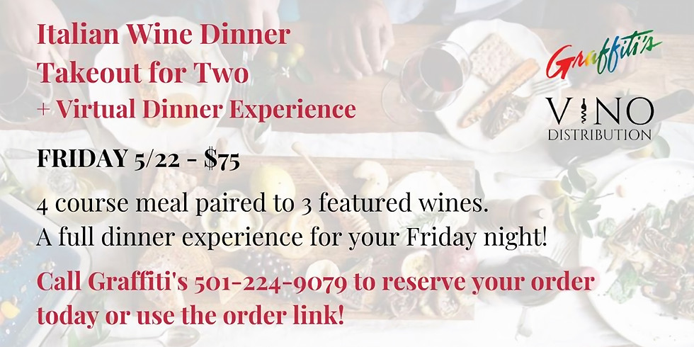 Italian Wine Dinner for Two Takeout w/ Graffiti's + VIRTUAL Wine Dinner Experience