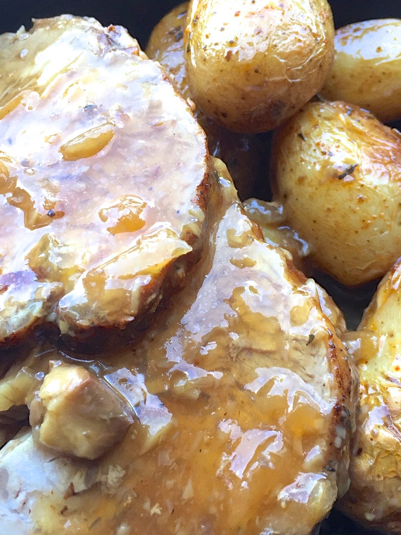Rôti de veau sauce forestière pommes gre