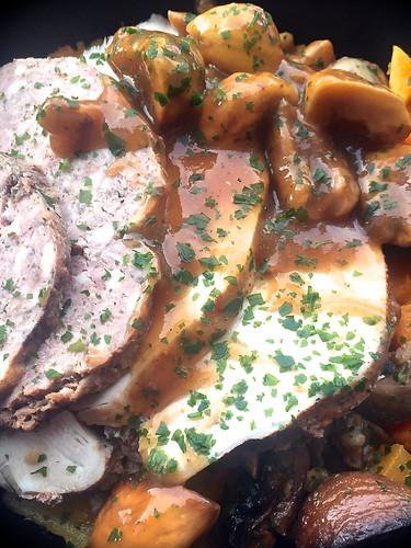 Filet de dinde aux marrons farce et butternut