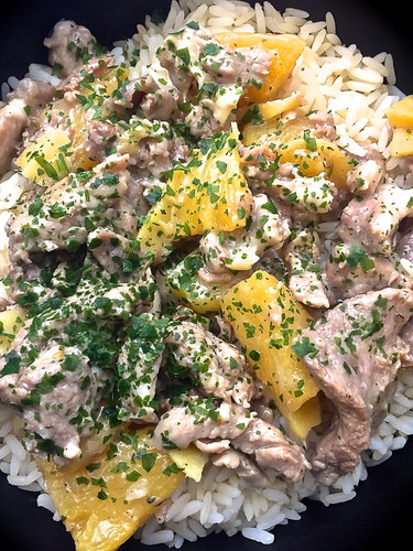 Emincé de porc à l'ananas et gingembre f